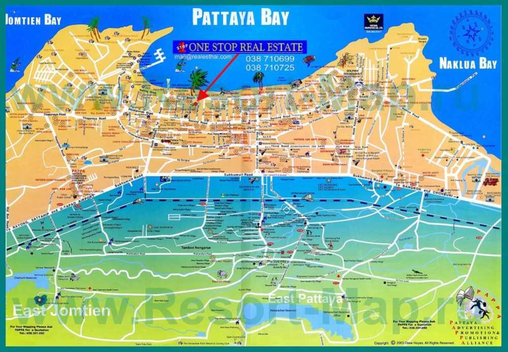 Карта Паттайи с достопримечательностями Тайланда